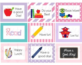 Girl Lunchbox Notes- Printable Lunchbox notes