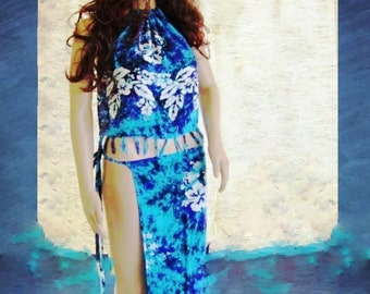 Shades of ocean blue Halter top and 2 parts skirt 4 piece outfit spring and summer clothing