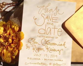 Save the Date Gold Calligraphy