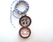 Faerie Ring Sparrow Hand Painted Brass Locket Necklace