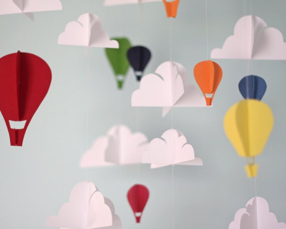 Rainbow Hot Air Balloon Paper Mobile L