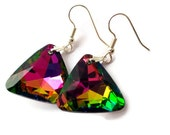 Triangle Earrings, Geometric Jewelry, Trendy Earrings, Vitrail Earrings, Colorful Jewelry