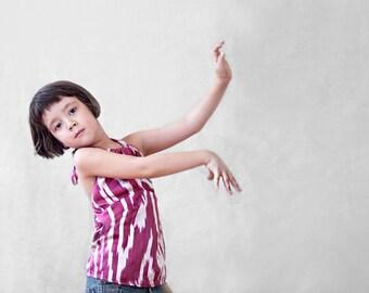 ikat silk top, silk halter top, girl top, custom, backless top, ikat halter top, plunging back, dark pink or purple and white