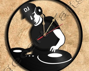 Wall Clock DJ On Deck Vinyl Record Clock Upcycled Gift Idea