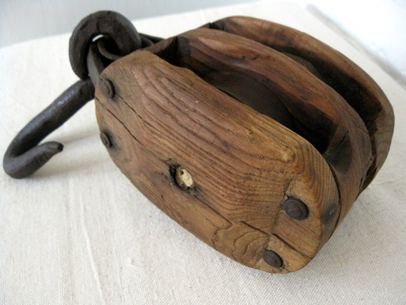 Antique pulley wood double rope pulley with cast iron for Uses for old pulleys