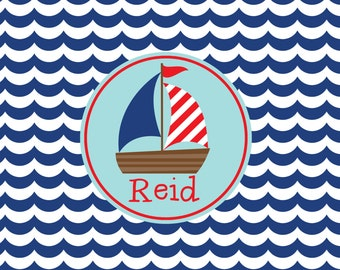 Personalized Laminated Placemat, Kids Place Mat, Childrens Placemat Nautical Placemat