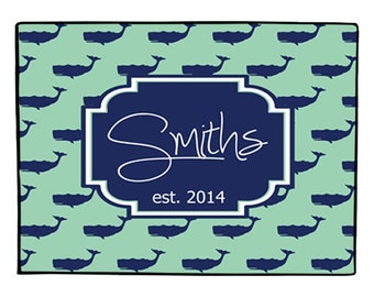 Personalized Nautical Door Mat Monogrammed Whale Doormat Indoor Outdoor Welcome Mat Floor Rug