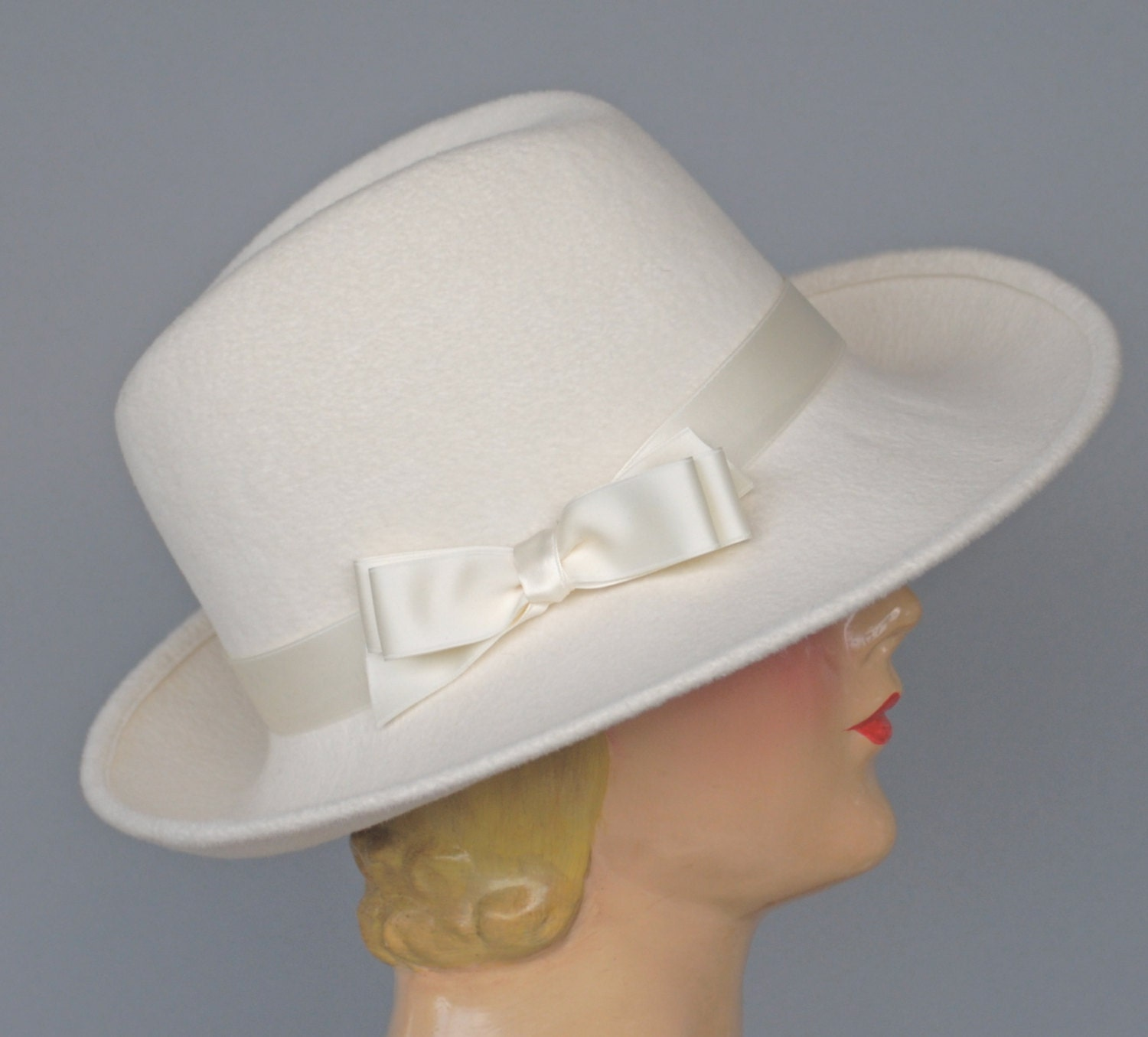 Winter White Felt Fedora Fur Felt Womens Hat