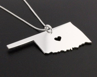 State necklace Oklahoma necklace sterling silver state necklace with heart comes with Box chain
