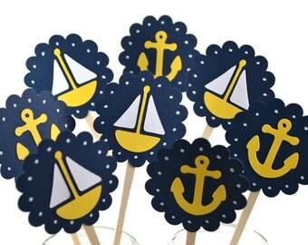 12 Nautical Cupcake Toppers / Sailboat Birthday Party / Nautical Baby Shower / Nautical Party Decor / Sailboat Cupcake Toppers / Whale Party