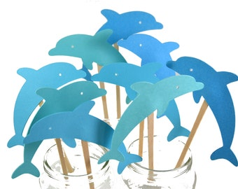12 Dolphin Cupcake Toppers / Dolphin Birthday Invitation / Dolphin Party Decor / Dolphin Invitation / Miami Dolphins / Dolphin Cake Toppers