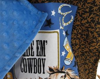 Cowboy Lovie / Western small minky baby blanket / security blankie... Texas, Colorado, Wyoming, Oklahoma… 17 by 17 inches