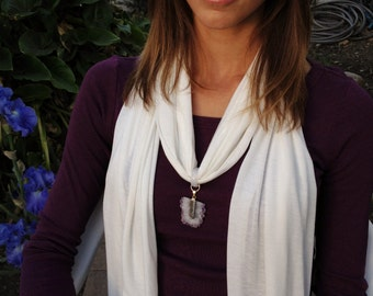 CRYSTALWEAR Reiki attuned & Oneness blessed Hemp Scarf Necklace with Amethyst Stalactite and Agate pendant.  Gifts for her