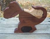 wood dinosaur puzzle scroll saw cut maple wood