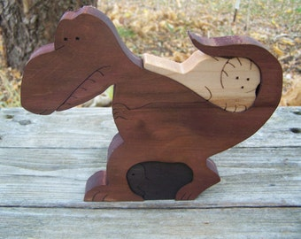 wood dinosaur puzzle scroll saw cut maple wood