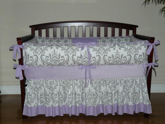 Purple And Grey Damask Baby Bedding