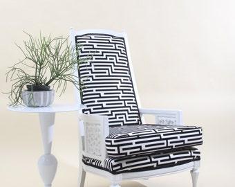Retro Geometric Upholstered  Arm Chair with Velvet Flocking