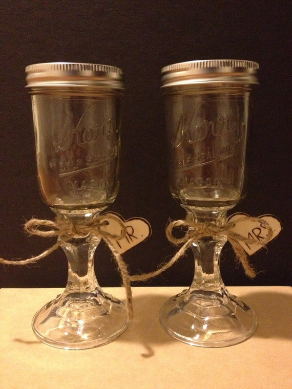2 Mason Jar Champagne Wine Glass With Mr Mrs By