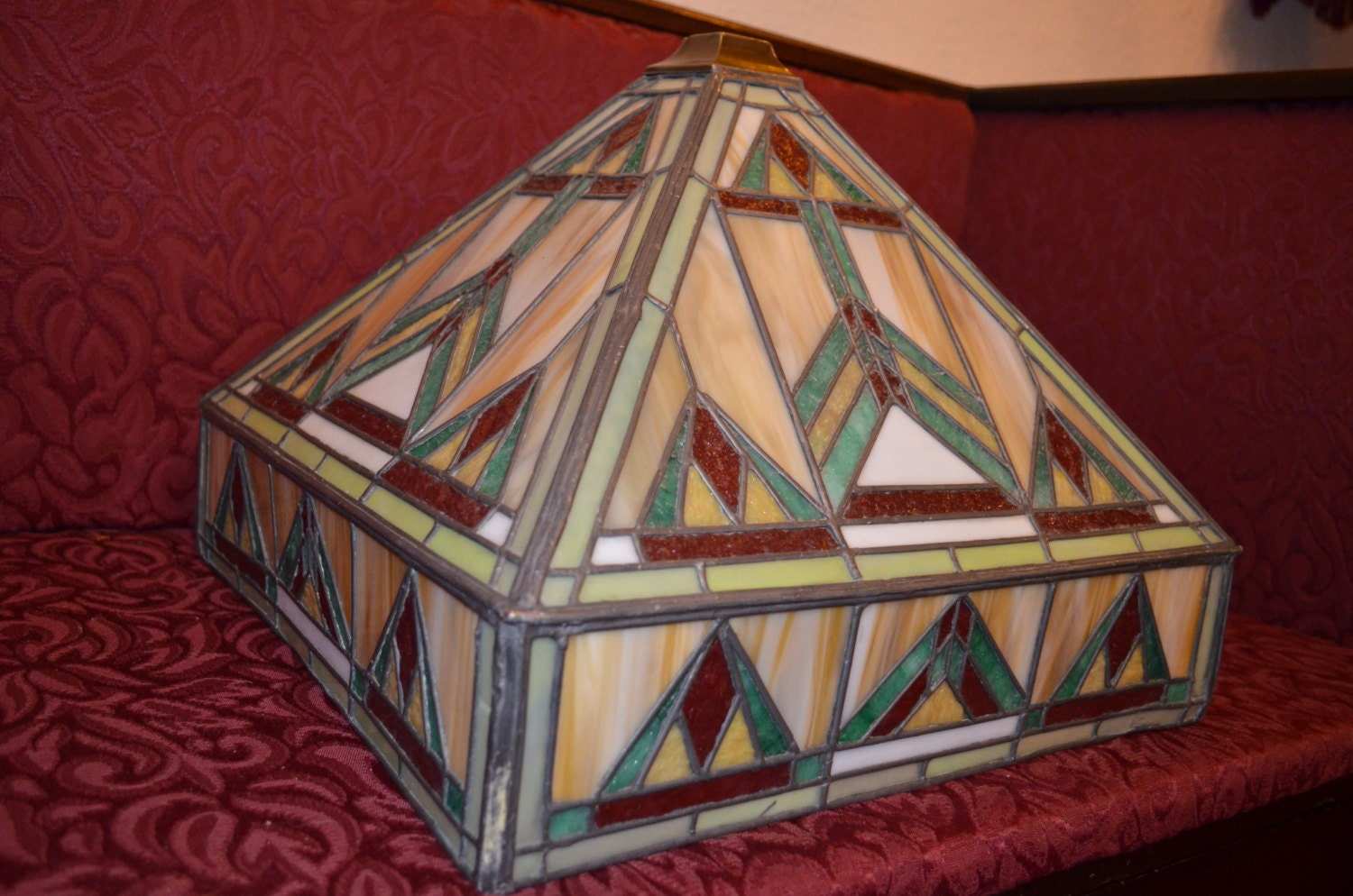 Arts Amp Crafts Movement Large Stained Slag Glass Lamp Shade