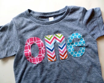 one lowercase with quadrafoil, chevron and robin's egg dots for girls 1st Birthday Shirt
