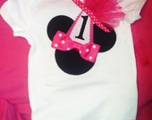 Minnie Mouse or Mickey Mouse Birthday Onesie or T-shirt