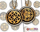 BLACK & GOLD ORNAMENTS 1 inch, 1.5 inch Printable digital download images for Round pendants Bezel trays Bottle caps Glass cabochons Crafts