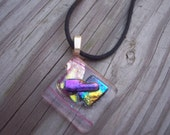 Dichroic glass pendant, black cord with lobster claw clasp