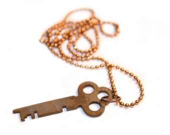 Simple Upcycled Vintage Industrial Key Charm Necklace