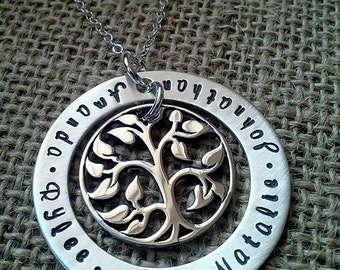 Mom Necklace with Names, Tree of Life Necklace, Mother Necklace, Grandma Necklace, Large Custom Tree of Life, Stamped Evermore