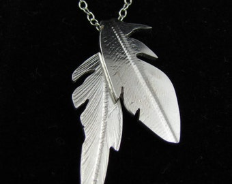 Birds of a Feather- silver feather necklace