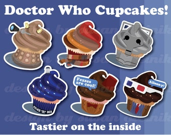 Doctor Who Cupcake sticker pack