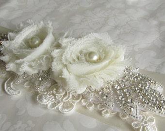 Bridal Sash / Lace Sash /  Ribbon Sash / Floral Sash /  The Eunice Sash with rhinestones