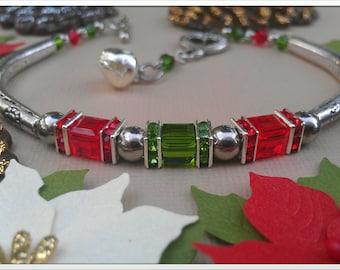 Red and Green Christmas Swarovski Crystal Bracelet