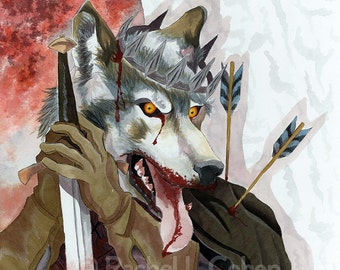 """SPOILER Game of Thrones Original Illustration Poster Print of Robb Stark/Grey Wind """"King in the North (The Red Wedding)"""""""