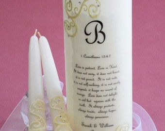 French Lace Swarovski Crystal Wedding Unity Candle
