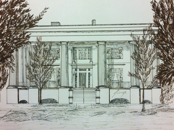Taylor-Grady House in Athens, Georgia Framed Original Pen & Ink Drawing