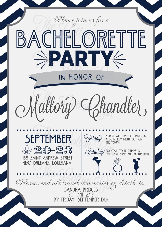 Chevron Bachelorette Party Invite – OnePaperHeart ...