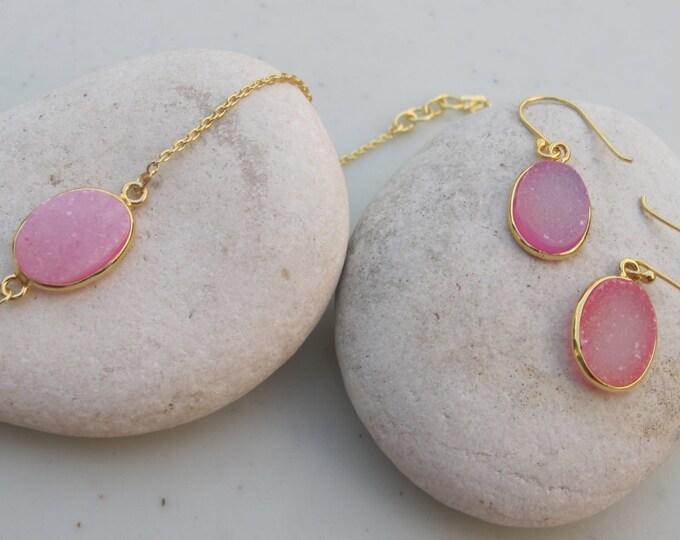 Pink Druzy Earring Necklace- Druzy Jewelry Set- Oval Druzy Jewelry- Pink Gemstone Sparkly Necklace Earring- Simple Everyday Jewelry