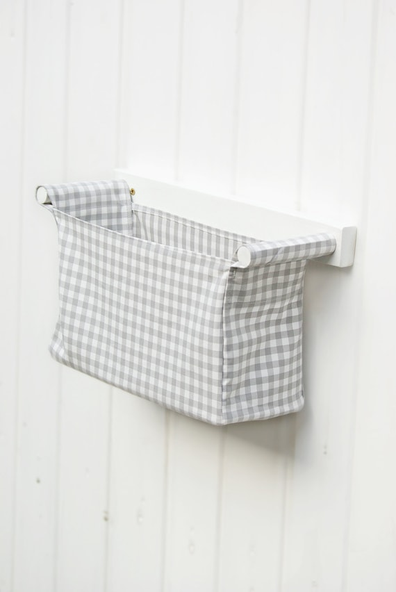 Fabric Bin With Wooden Rack Wall Mounted Diaper Bag For Baby