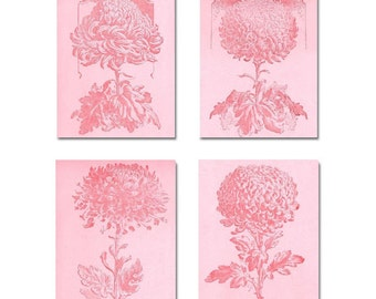 Shabby Chic Nursery, Pink Flowers, Girl Nursery Decor, Wall Art for Girls, Kids Decor, Set of 4 Prints, Nursery Wall Art, Kids Wall Art
