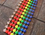 Neon Rainbow Hand Painted Rhinestone Bracelet