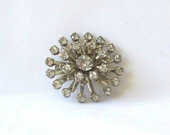 Vintage Rhinestone Brooch Layered Star Silver Tone