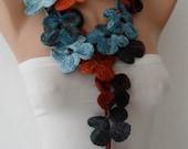 Autumn Scarf - Handknit flowered scarf -  Multicolor scarf