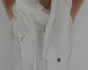 White Scarf with Chiffon Frills - Bride Scarf - Bridesmaid Gift Scarf - Headband - Christmas Gift