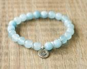 Beaded Bracelet - Om Bracelet - Yoga Inspired Beaded Stretch Bracelet - Faceted Blue Jade with Thai Silver Om Charm