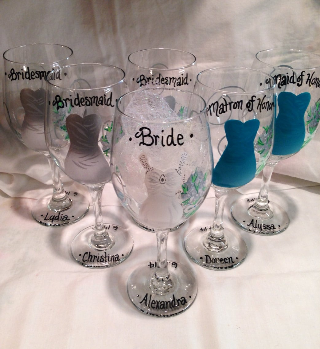 Personalized Wine Glasses For Wedding Gift : Wedding Wine Glasses Hand Painted Personalized Bridal Party