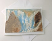 Waterfall, Watercolor card, nature, one of a kind, unique, watercolor art mounted on blank card