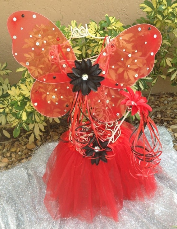 Devil Costume Red  Ballet Tutu, Red Wings, Devil Wand Set, Halloween party favors