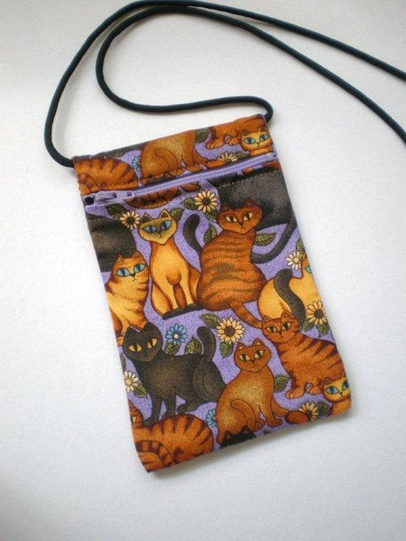 Pouch Zip Bag Purple CAT Fabric - great for walkers, markets, travel.  Cell Phone Pouch. Small fabric Purse.