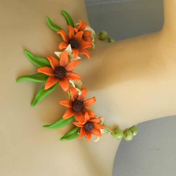 Marigold - Fall orange - Handmade polymer necklace earrings set